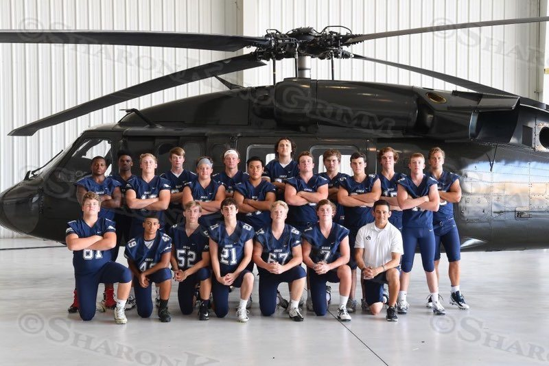 Football Seniors with Blackhawk Helicopter : 8.17.17